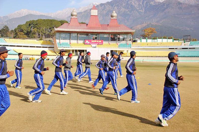 Nepal U-19 cricket team members take part in training session at the HPCA Stadium in Dharamshala on Friday. The Nepali team is ncurrently in India to prepare for the upcoming ICC U-19 Cricket World Cup slated for Bangladesh from January 22 to February 14. Photo: Courtesy CAN