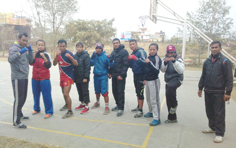 Nepali wushu players during a training session at the Pokhara Stadium. The team is preparing for 12th South Asian Games ot be held in India. Photo: THT