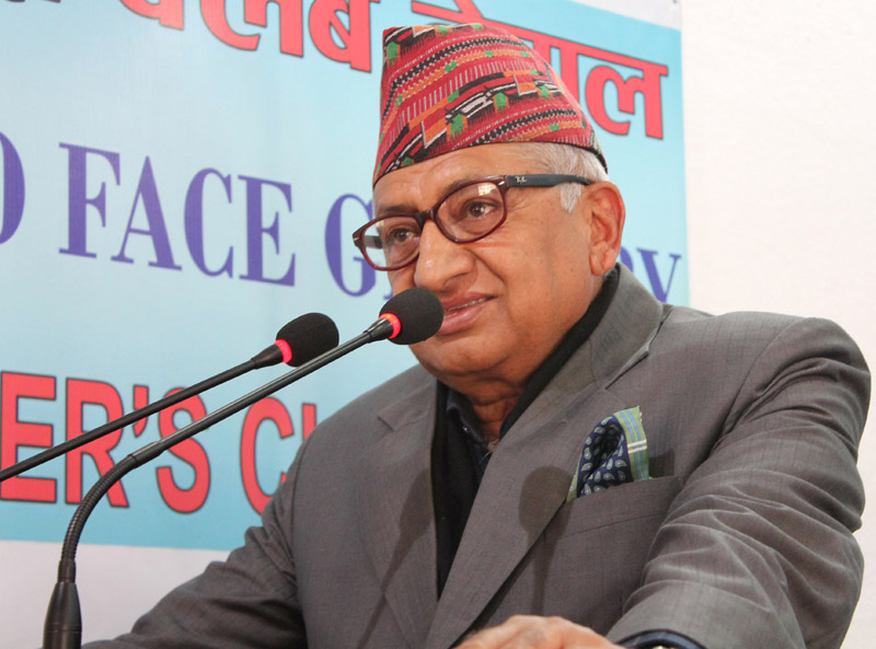 Nepal's Ambassador to India Deep Kumar Upadhyay speaks with journalists at the Reporters' Club Nepal, in Kathmandu, on Friday, January 8, 2016. Photo: Reporters' Club