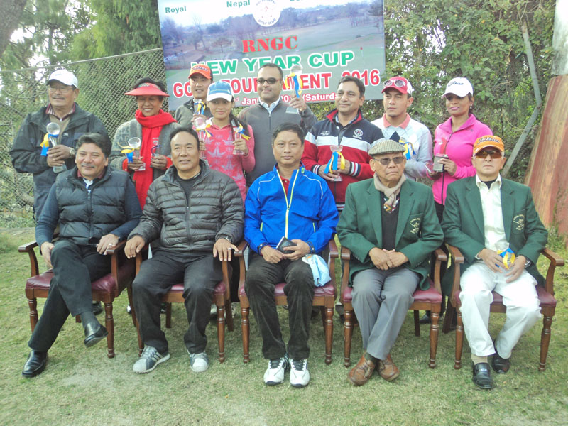 Winners and officials pose after the New Year Cup Golf Tournament at the Royal Nepal Golf Club in Kathmandu on Saturday.  Photo Courtesy: RNGG