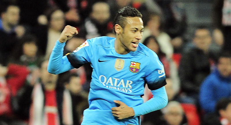 Barcelona's Neymar celebrates after scoring a goal against Athletic Bilbao during their King's Cup match in Bilbao on Wednesday. Photo: AFP