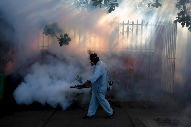 A health ministry worker fumigates a house to kill mosquitoes during a campaign against dengue and chikungunya and to prevent the entry of Zika virus in Managua, Nicaragua January 26, 2016. The Government of Nicaragua announced a plan in order to stop the Zika virus from arriving in the country. REUTERS/Oswaldo Rivas