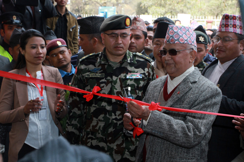 Prime Minister KP Sharma Oli inaugurates the 22nd edition of Subisu CAN Info-Tech 2016 organised by the Federation of Computer Association of Nepal (CAN), in Kathmandu, on Friday, January 29, 2016. Photo: RSS