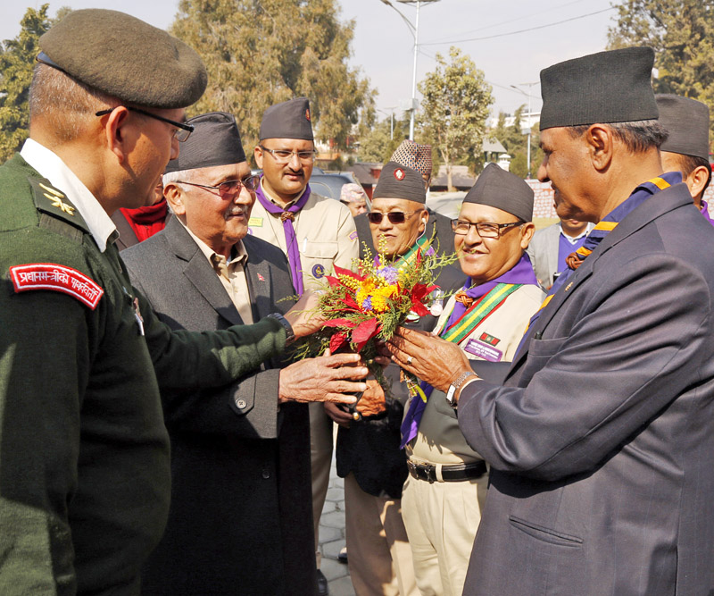 Prime Minister KP Sharma Oli being welcomed by the members of the Nepal Scouts during an investiture ceremony organised at its headquarters in Lainchaur of Kathmandu, on Tuesday, January 05, 2016. Photo: RSS