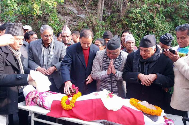 Nepali Congress leaders pay tribute to late Padma Singh Bishwakarma in Pokhara of Kaski district, on Thursday, January 14, 2016. Photo: RSS
