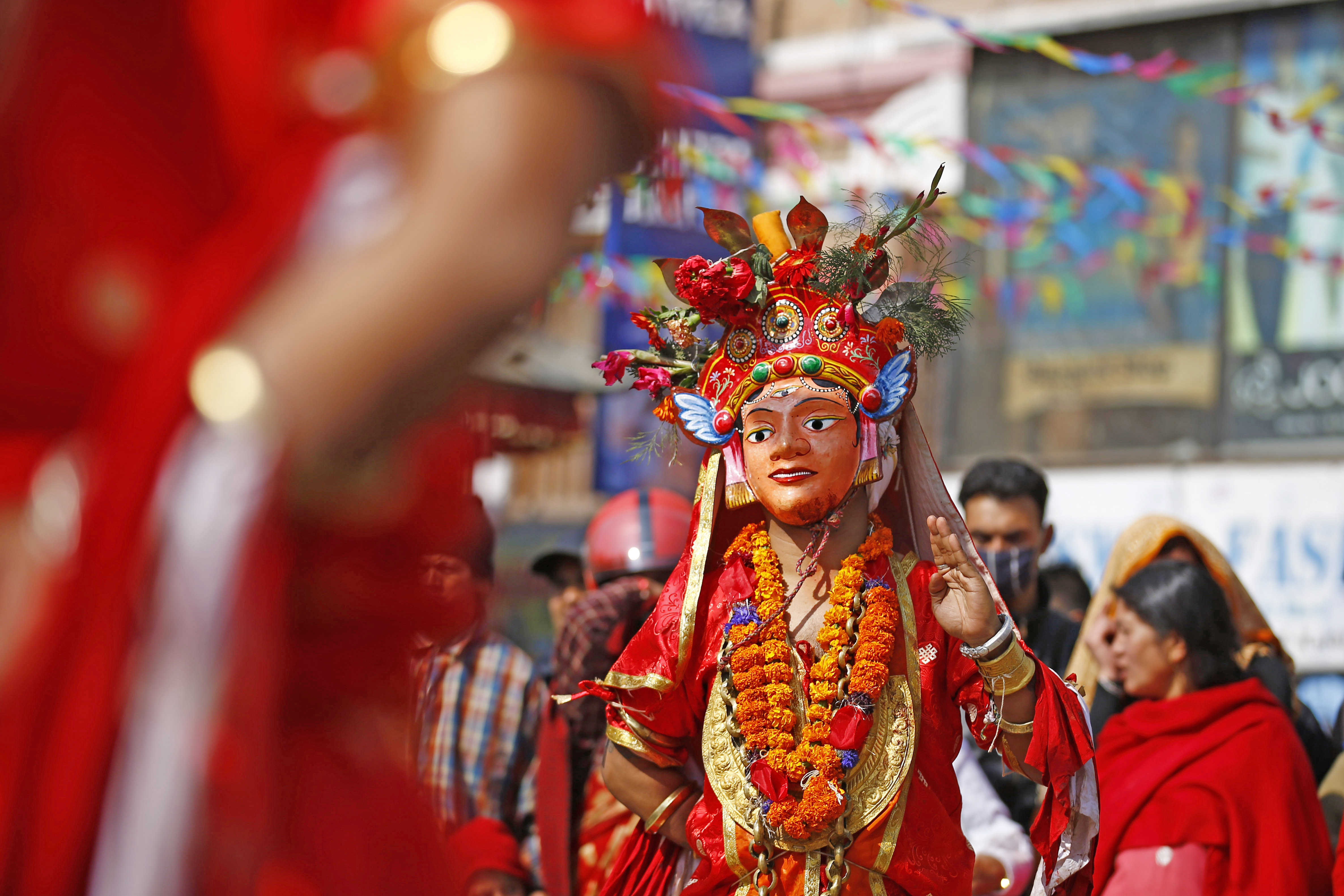 People dressed as deities performing traditional masked dance to celebrate Shree Pachali Bhairav Khadga Siddhi Jatra, a festival which is celebrated once in 12 years, in Makhan Tole, Kathmandu, on Saturday.  Photo: THT