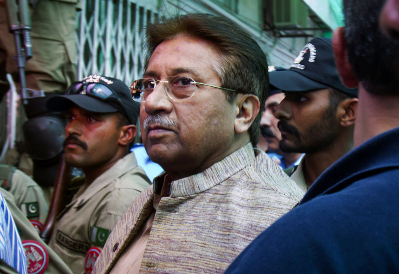 FILE - Pakistan's former President and military ruler Pervez Musharraf arrives at an anti-terrorism court in Islamabad, Pakistan on Saturday, April 20, 2013. Photo: AP