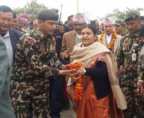 President Bidya Devi Bhandari is welcomed by a security official in Godavari of Kailali, on Thursday, January 14, 2016. Photo: Tekendra Deuba