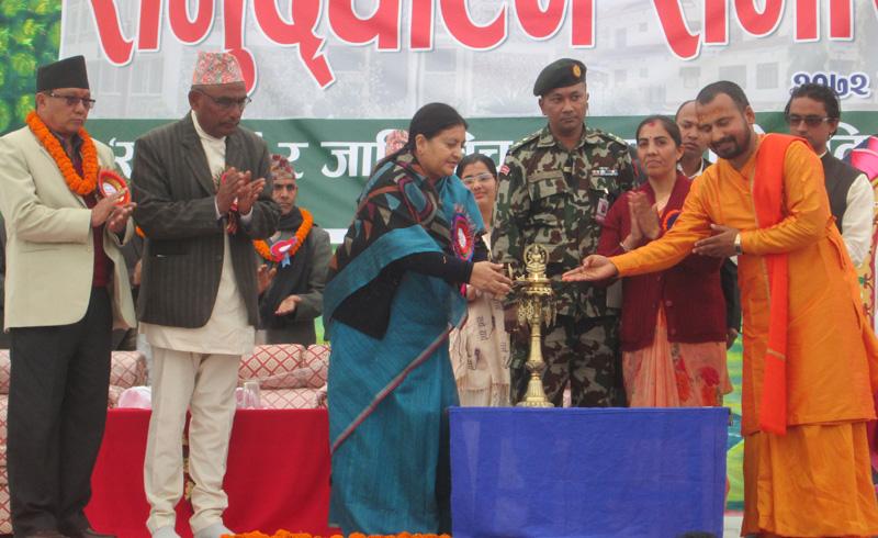 President Bidya Devi Bhandari inaugurates the a religious and educational festival organised by Adikavi Bhanubhakta Campus in Byas-1 of Tanahun district on Wednesday, January 20, 2016. Photo: Madan Wagle