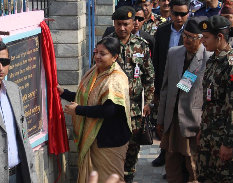President Bidya Devi Bhandari inaugurates a Martyrs Memorial Pillar in Hetaunda of Makawanpur, on the Martyrs' Day, on Saturday, January 30, 2016. Photo: Prakash Dahal