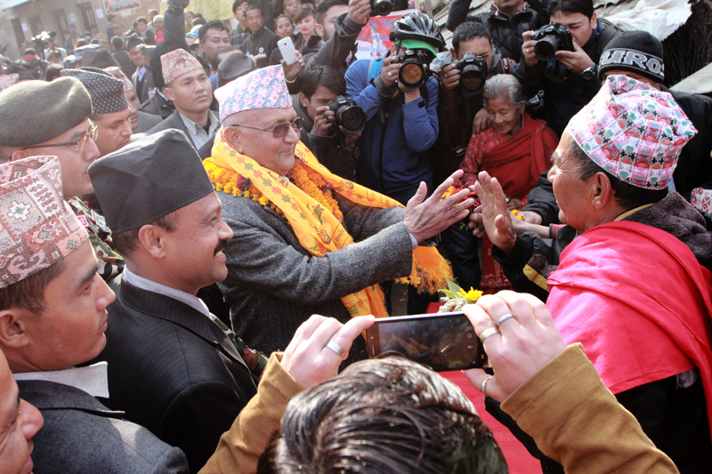 Prime Minister KP Sharma Oli receives a warm welcome from locals of Bungmati of Lalitpur as he visits the ancient town to inaugurate a reconstruction campaign, on Saturday, January 16, 2016. Photo: RSS