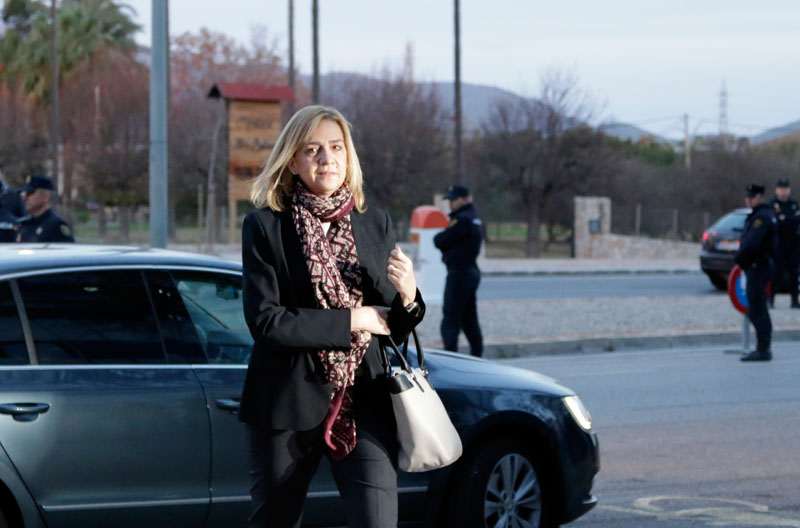 Spain's Princess Cristina arrives at a makeshift courtroom for a corruption trial, in Palma de Mallorca, Spain, on Monday, January 11, 2016.  Photo: AP