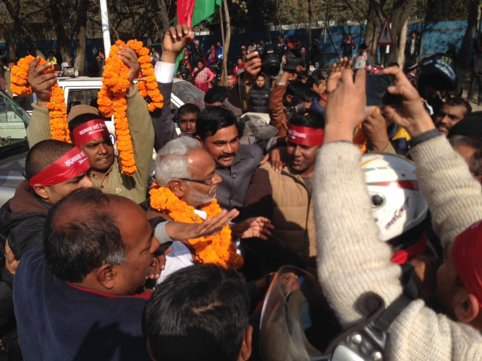 Leader Rajendra Mahato being welcomed by party leaders and cadres. Photo Courtesy: Upendra Mahato