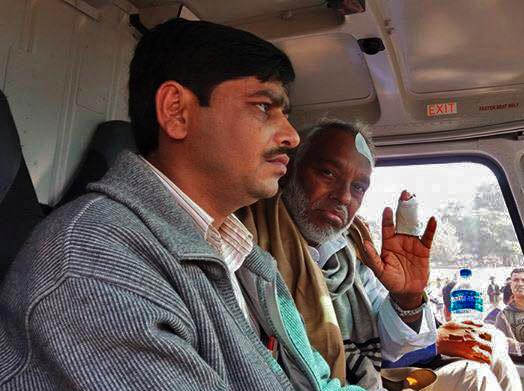 Rajendara Mahato gestures. He was airlifted to Kathmandu from Dharan and then to New Delhi for further treatment. Photo: Upendra Mahato.
