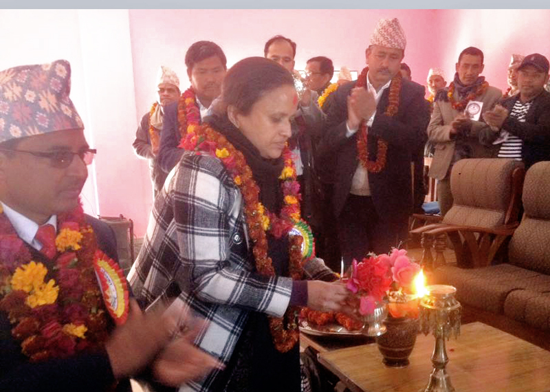 Minister for General Administration Rekha Sharma inaugurating the 3rd Municipal Council of Pyuthan Municipality, in Pyuthan, on Tuesday, January 5, 2016. Photo: THT