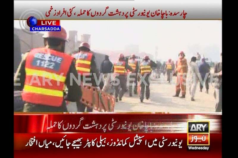Rescue workers arrive at the Bacha Khan University during an attack by militants, in Charsadda, northwestern Pakistan in this still frame taken from a video released by ARY News on January 20, 2016. Photo: ARY News via Reuters