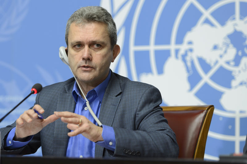 Rick Brennan, WHO director of emergency risk assessment and humanitarian response, speaks during a press conference at the European headquarters of the United Nations, in Geneva, Switzerland, on Thursday, January 14, 2016. Photo: AP