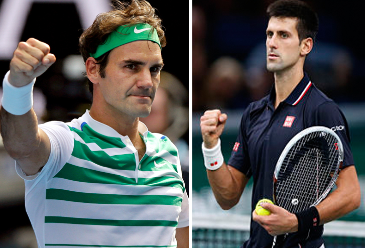 Switzerland's Roger Federer (left) and Serbia's Novak Djokovic will compete in the semi final for a place in the Australian Open final. Photos: Reuters