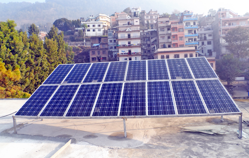 Solar panels are installed at the District Development Committee Office in Gorkha on Wednesday, January 27, 2016. Photo: RSS