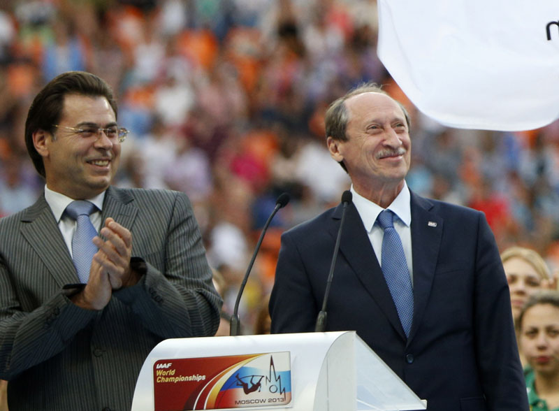FILE - Russian Athletics Federation President Valentin Balakhnichev (right) and deputy mayor of Moscow Alexander Gorbenkov (left) attend the closing ceremony at the World Athletics Championships in the Luzhniki stadium in Moscow, Russia on Sunday, August 18, 2013. Photo: AP