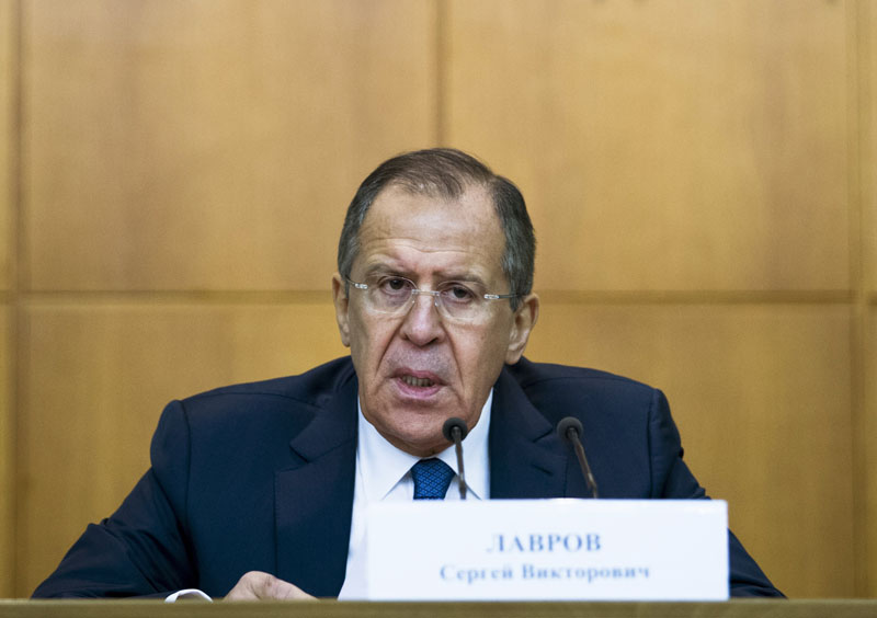 Russian Foreign Minister Sergey Lavrov speaks during his annual news conference in Moscow, Russia, on Tuesday, January 26, 2016. Photo: AP