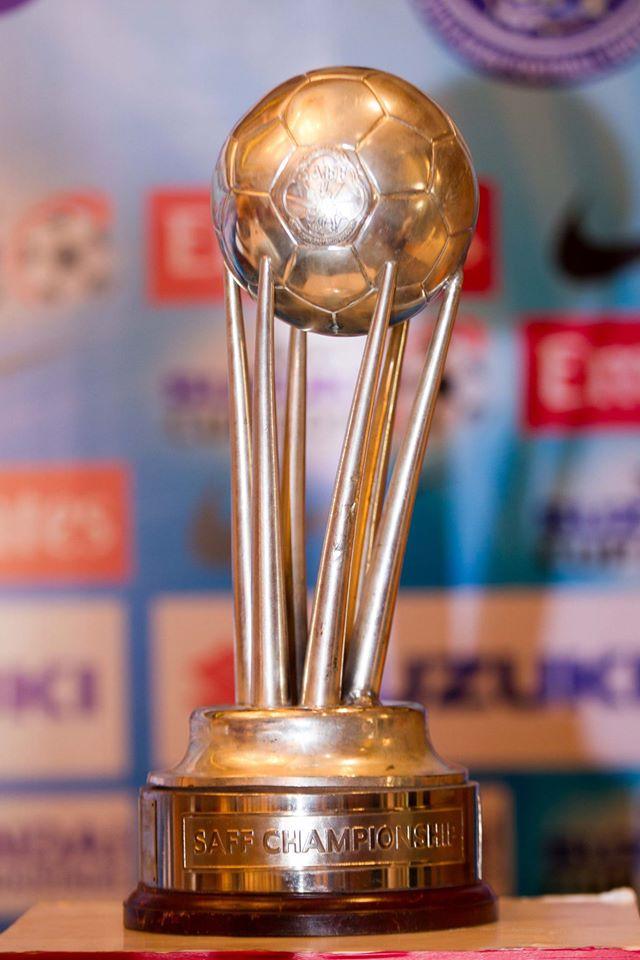 Trophy of the SAFF Suzuki Cup. Photo: SAFF Suzuki Cup Facebook page