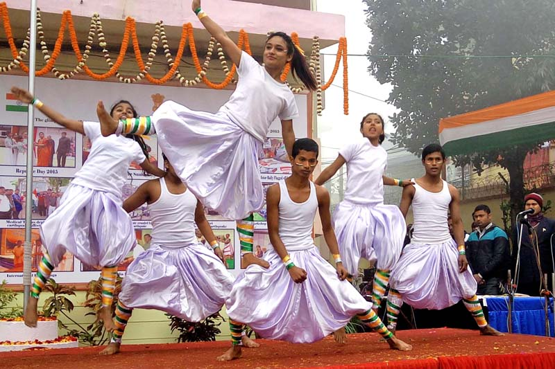 School children performing dance during a function organised in the premises of Consulate General of India at Birgunj of Parsa district to mark the 67th Republic Day of India on Tuesday, January 26, 2016. Photo: Ram Sarraf/ THT