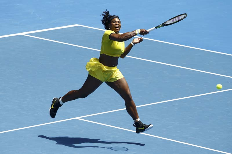 Serena Williams of  US jumps to hit a shot during her fourth round match against Russia's Margarita Gasparyan at the Australian Open tennis tournament at Melbourne Park, Australia, on January 24, 2016. Photo: Reuters
