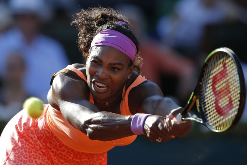 FILE - Serena Williams, of the United States, returns a shot in her semifinal match of the French Open tennis tournament against Timea Bacsinszky, of Switzerland, at the Roland Garros stadium in Paris on June 4, 2015. Photo: AP