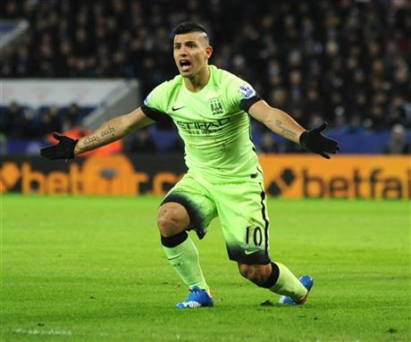 Manchester City striker Sergio Aguero in this undated file photo. Photo: AP