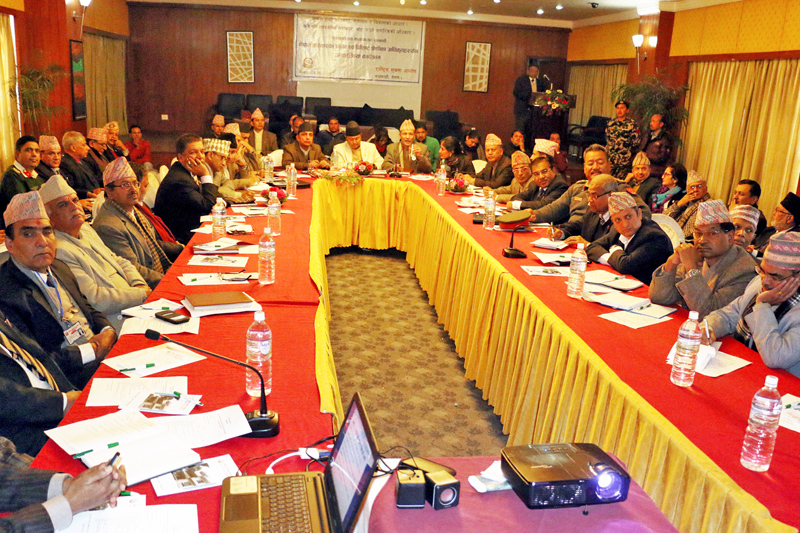 Minister for Information and Communication Sherdhan Rai (centre), Chief Secretary, Joint Secretaries and Section officers among others take part in an interaction program organised by National Information Commission in Kathmandu on Tuesday, January 5, 2016. Photo: RSS
