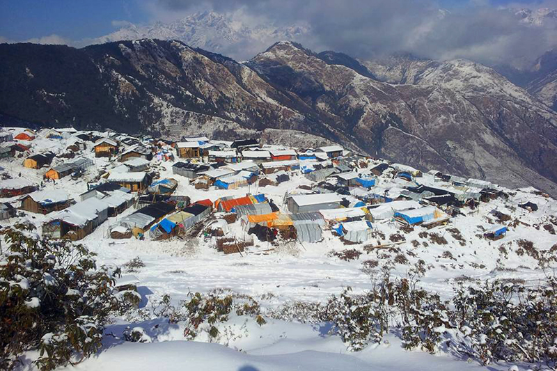 Snow-covered shelters of April-May quake survivors in Gupsipakha of Laprak, near the April 25 earthquake epicentre Barpak, in Gorkha district, on Saturday, January 9, 2016. The snowfall coupled with the hailstorm has added problems to woes of the quake survivors, who have been waiting for reconstruction. Photo: RSS