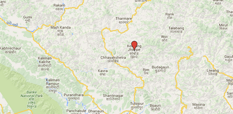 Socket bombs found in Korbang Jhimpe of Salyan. Source: Google Maps