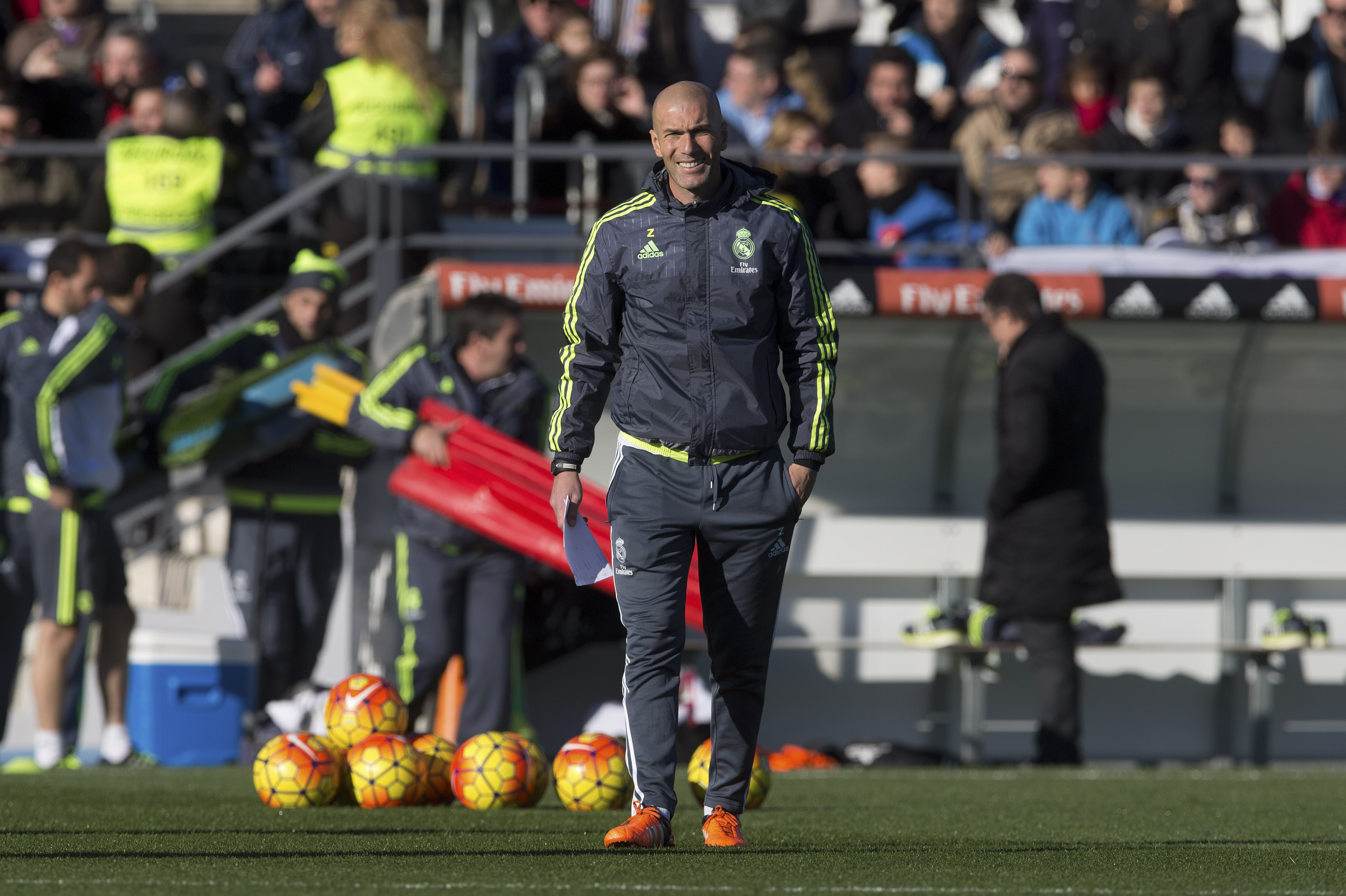 Real Madrid's newly appointed coach Zinedine Zidane steps out for his first training session in Madrid, Spain, Tuesday January 5, 2016. Photo: AP