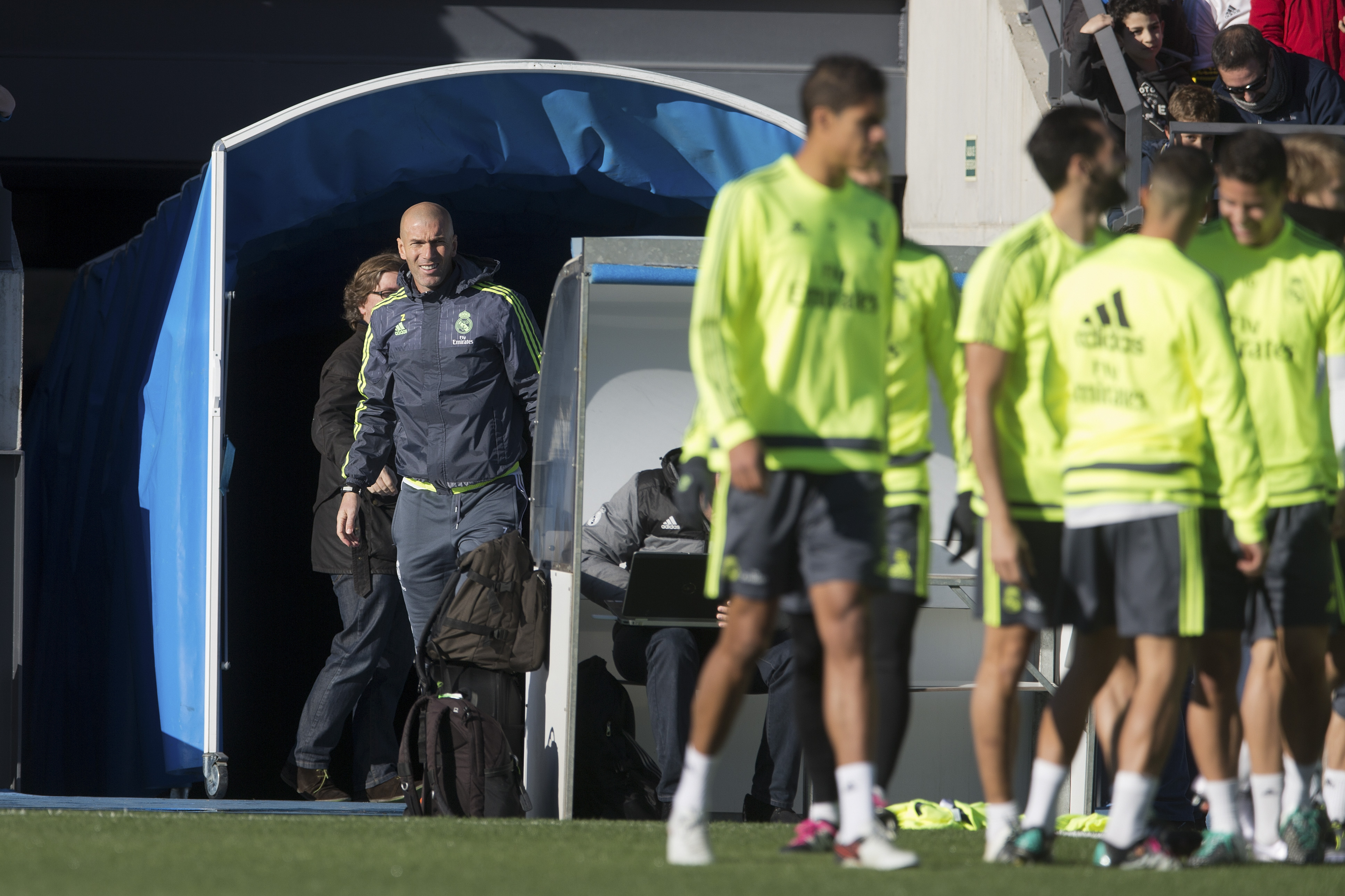 Real Madrid's newly appointed coach Zinedine Zidane, left, steps out for his first training session in Madrid, Spain, Tuesday January 5, 2016. Photo: AP