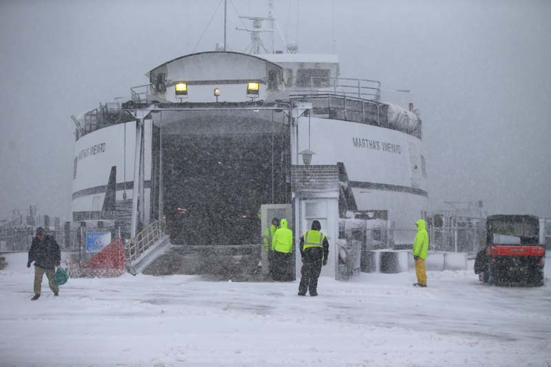 The Steamship Authority Ferry waits to depart Woods Hole, Massachusestts on Saturday, January 23, 2016. Photo: The Boston Globe via AP
