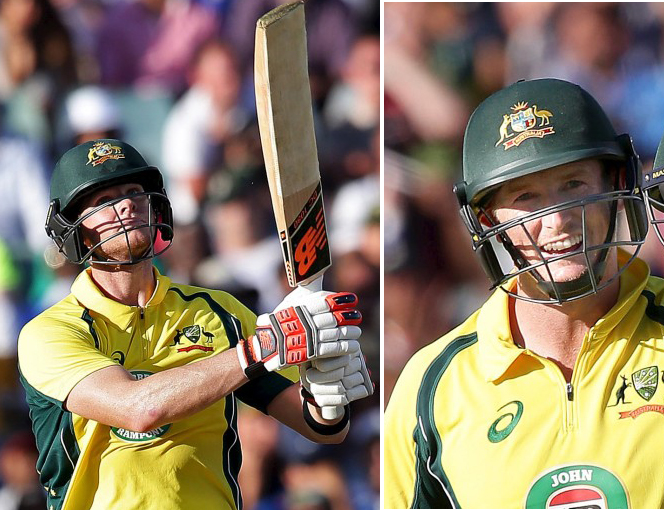 Australian captain Steve Smith (left) and George Bailley celebrates after scoring century aganist India in the first One Day International in Perth on Tuesday, January 12, 2016. Photos: Reuters