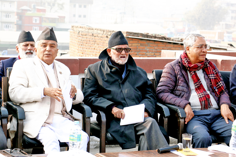 Nepali Congress President Sushil Koirala (centre) chairing the Central Working Committee meeting  flanked by Vice-President Ram Chandra Paudel (left) and Senior leader Sher Bahadur Deuba at the NC central office in Sanepa on Sunday, January 10, 2016. Photo: RSS