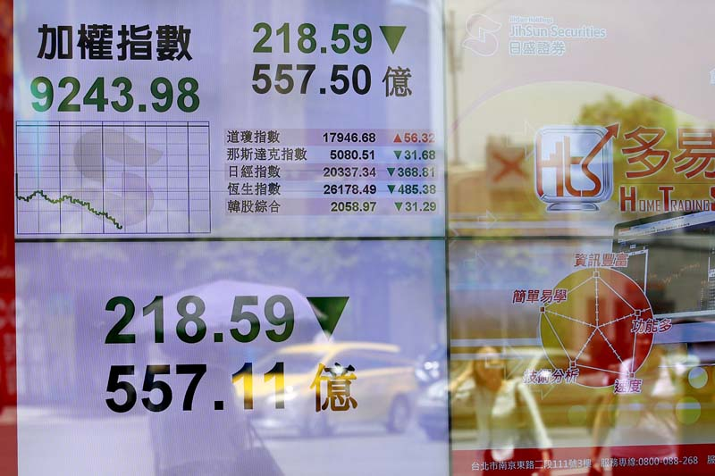 People walk past in front of a monitor showing stock market prices in Taipei, Taiwan, on June 29, 2015. Photo: Reuters