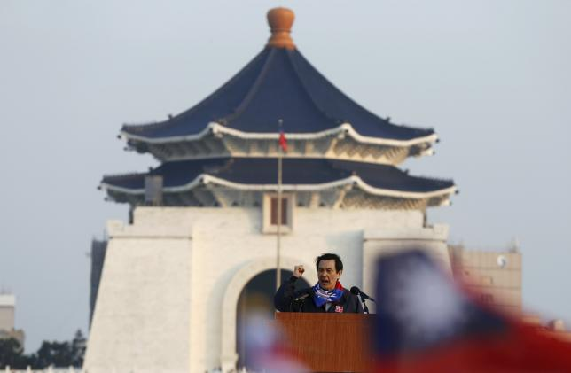 Taiwan's President Ma Ying-jeou speaks during a Nationalist Party, or Kuomintang (KMT), rally ahead of Taiwan's election on January 16, in Taipei, January 9, 2016. REUTERS/Olivia Harris