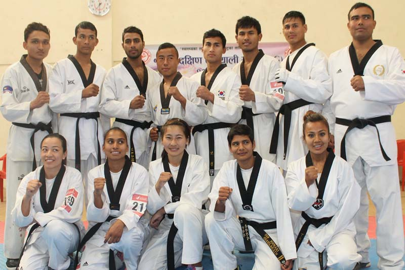 Teakwondo players pose after being selected for the 12th South Asian Games, in Lalitpur on Tuesday, January 5, 2016. Photo: THT