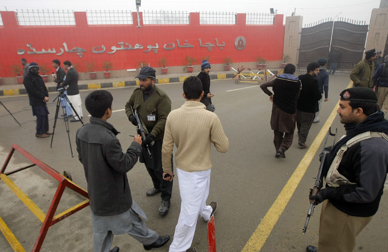 Security is beefed up at the Bacha Khan University in Charsadda, Pakistan,on Monday, January 25, 2016. Photo: AP