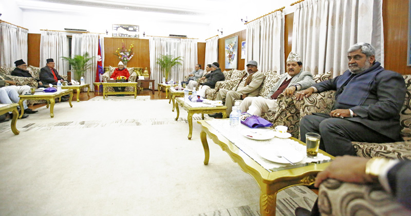 Leaders of the ruling coalition, the main opposition Nepali Congress and the agitating United Democratic Madhesi Front holding talks in a bid to resolve the Tarai crisis, in Kathmandu, on Sunday, January 3, 2016. Photo: THT