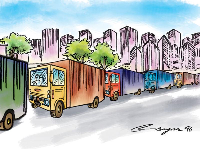 Truck in queue. Image: Ratna Sagar/THT