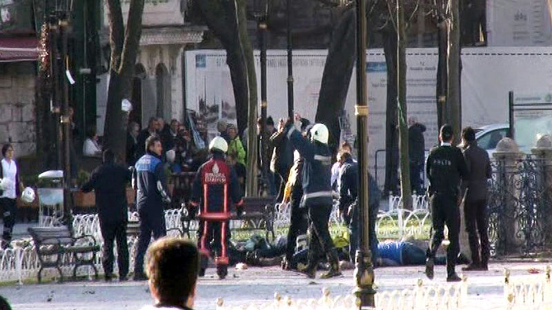 This image from video shows medics and security members with injured people lying on the ground after an explosion at Istanbul's historic Sultanahmet district, which is popular with tourists, on Tuesday, January 12, 2016. Photo: AP