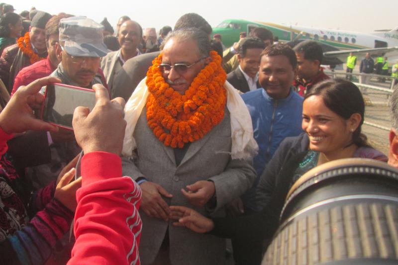 UCPN-Maoist Chairman Pushpa Kamal Dahal speaks with journalists in Biratnagar of Morang district, on Saturday, January 2, 2016. Photo: RSS