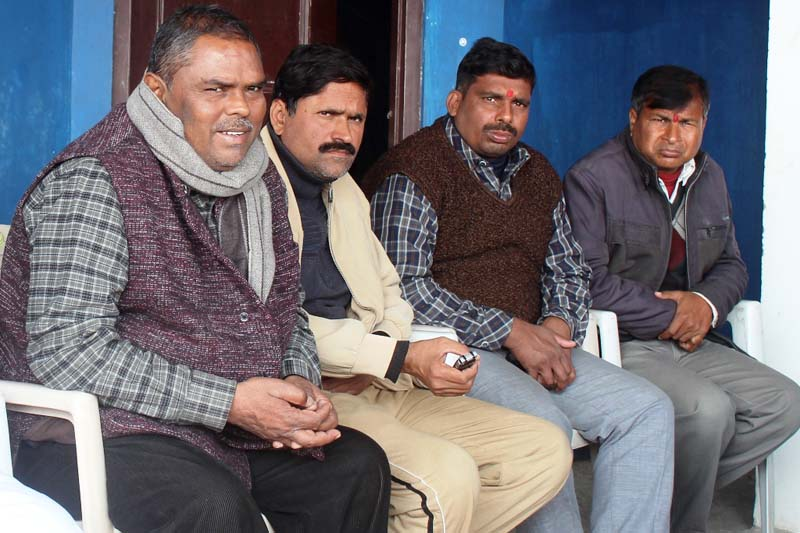 Federal Socialist Forum-Nepal leader Upendra Yadav and other leaders at a press conference organised in Birgunj, on Tuesday, January 5, 2016. Photo: Ram Sarraf/ THT
