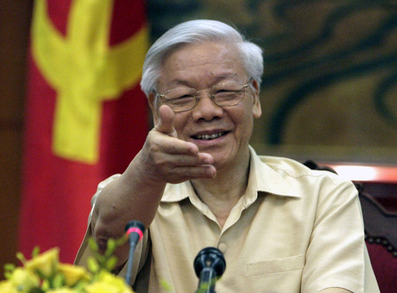 FILE -  Vietnamese Communist Party General Secretary Nguyen Phu Trong gestures during a meeting with the Western press in Hanoi, Vietnam, on July 3, 2015. Photo: AP