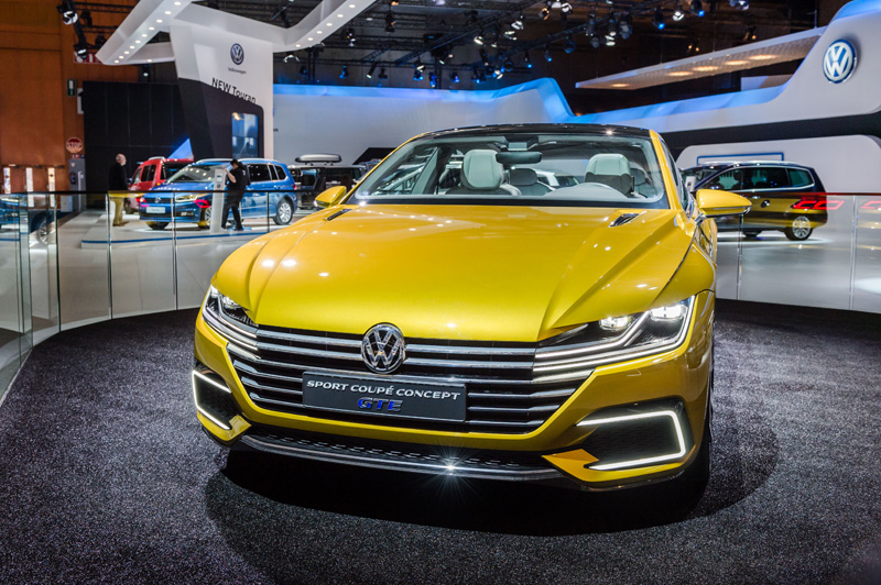 A Volkswagen Sport Coupe Concept GTE on display during the media day of the 94rd European Motor Show in Brussels on Tuesday, Jan. 12, 2016. (AP Photo/Geert Vanden Wijngaert)