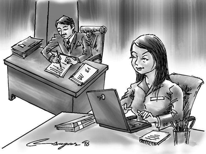 Working place. Illustration: Ratna Sagar Shrestha/THT